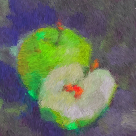 Green apples in the style of digital painting Impressionism