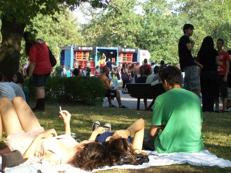 revellers: Zaimov Park, Sofia, Bulgaria, July 2012, The crowd in the park listening to music  Editorial