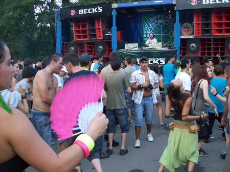 revellers: HMSU Drum and Bass Event, Sofia, Bulgaria, 6th July 2012 - the festival revellers at the open-air event