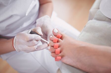 Pedicurist doing white nail polish on client legs using toe finger separator. Professional medical pedicure procedure. Foot treatment in SPA salon. Podiatry clinic. Beautician hands in white gloves Stock Photo