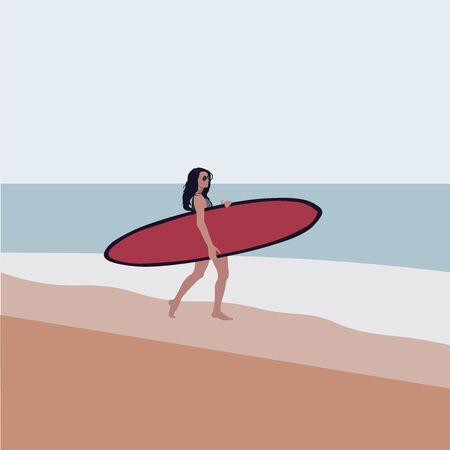Woman on the beach goes surfing with surfboard. Ilustração