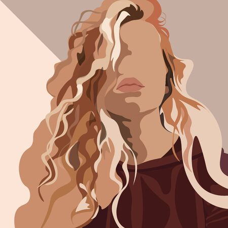 Vector illustration of an isolated young beautiful curly hair woman with plump leaps. Fashion portrait Stockfoto - 146075285