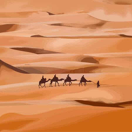 vector illustration of a desert with caravan of camels. Vecteurs