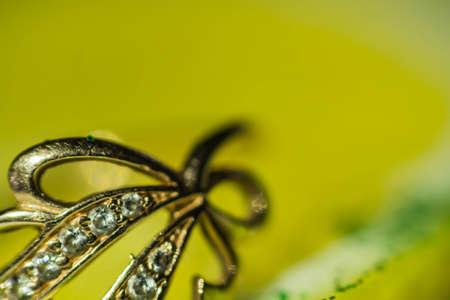 golden ring on a yellow background, lemon citrus Stock Photo