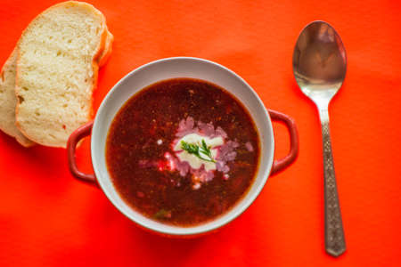 Red soup with vegetables