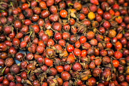 Ripe, juicy and red rose hips for medicinal tea on a wooden background close-up. Фото со стока