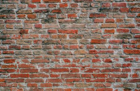 loft old weathered bricks wall, background, texture Banco de Imagens