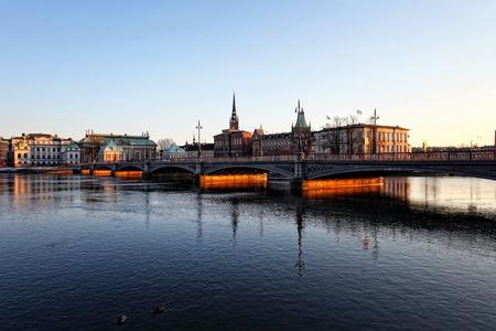 Stockholm, Sweden bridge over the river 10 03 2013