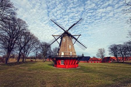 Copenhagen, Denmark windmill by the water on early spring.