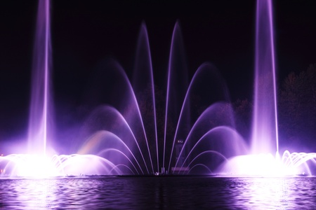 night dancing fountain in the town of Vinnitsa