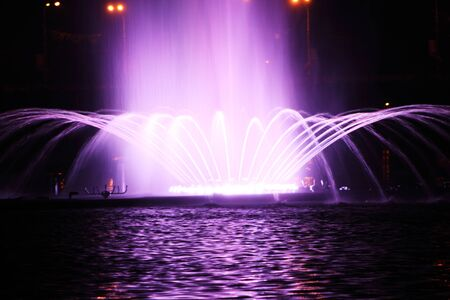 night dancing fountain in the town of Vinnitsa photo