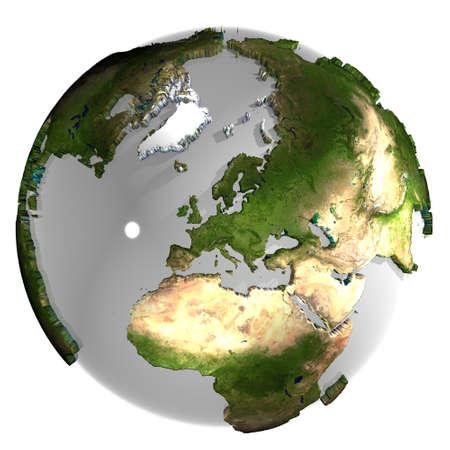 mediterranean forest: 3d earth globe Stock Photo
