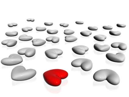 3d hearts Stock Photo - 13912800