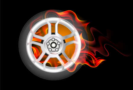 Red Burning wheel. Illustration on black background