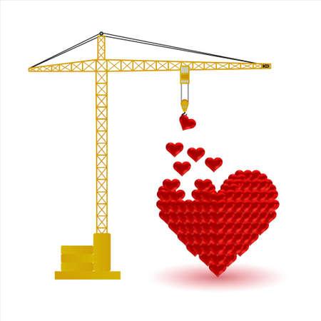 hearts and crane