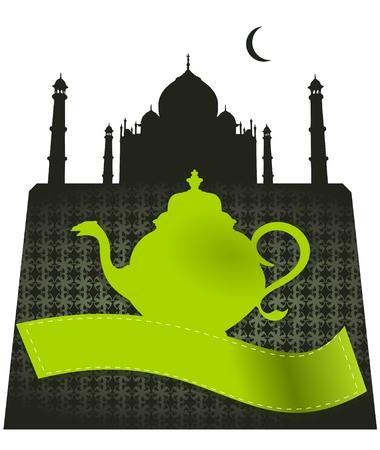 taj mahal: taj mahal green tea pot vector