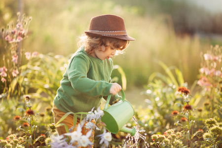 horizontal sunset ligth photo of a toddler girl watering flowers in the garden Foto de archivo