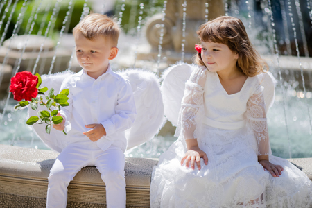Adorable toddler boy and girl in angel costumes sitting together, boy holding red rose. Saint Valentines day. First love. Angelic children