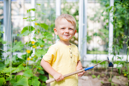Cute toddler boy working in the greenhouse, digging with little shovel