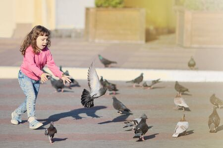 Little girl running, flaunts the pigeons on the street in town. Happy childhood.