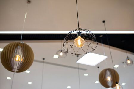 Modern and industrial style metal lamps decorated in a retro style. 版權商用圖片 - 124745894