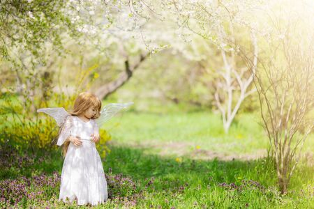Fairy tale consept. Little toddler girl wearing beautiful princess dress with fairy wings in the forest or park, spring day, white blooming trees. 版權商用圖片 - 124745858