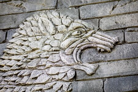 Ancient monster carved in stone on the wall, old decorative ornament. 版權商用圖片 - 124745862