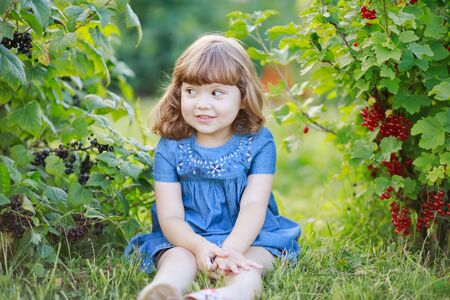 Adorable happy little girl at the garden, picking and eating red and black currant from the bush and smiling, childhood at the farm, healthy food from the garden Archivio Fotografico