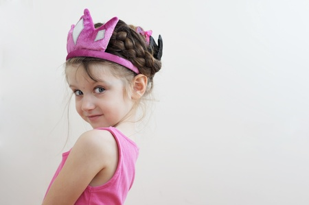 little girl smiling: Beauty little princess with pink tiara