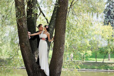 diosa griega: Novia elegante y el novio se besan mientras que se coloca en un árbol en el parque