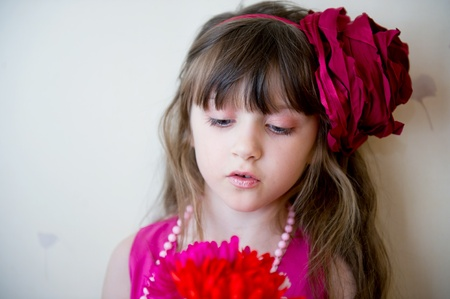 Pretty little girl in beautiful pink dress with flower headband, focus on face Stock Photo - 11488707