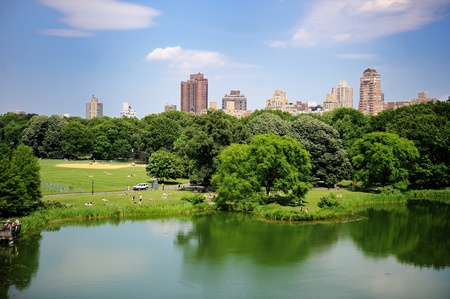 A pond in New York City Central Park in summer with a view of Manhattan skyscrapers and colorful trees photo
