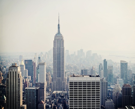 New York City Manhattan skyline aerial view in the fog Stock Photo