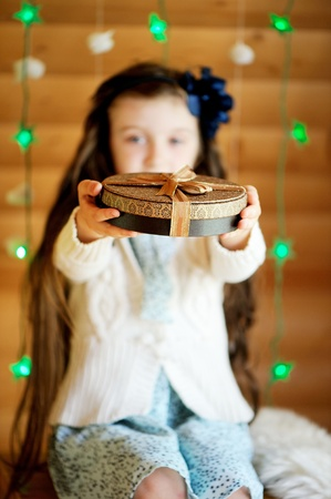 christmas religious: Cute little girl waiting for magical Christmas night