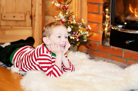 Portrait of short-haired toddler boy in Christmas decorations Stock Photo - 17369683
