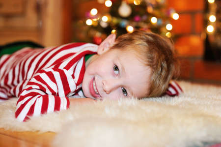 Portrait of short-haired toddler boy in Christmas decorations Stock Photo - 17369690