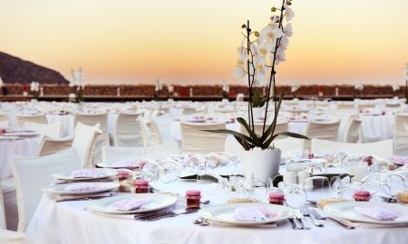 Table set up for a wedding ceremony on beach resort photo