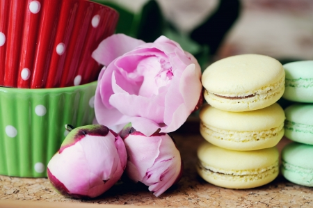 Still-life composition with two cups, colorful macaroons and pink peony photo