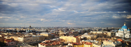 scenic View of St. Petersburg from the roof with dramatic sky Stock Photo
