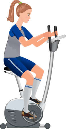 beautiful vector girl working out with stationary bicycle Vector