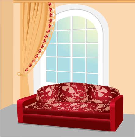 red couch: Divano rosso vicino alla grande finestra con tenda di pizzo bella