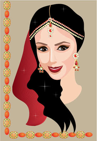 beautiful Indian woman with jewelry Vector
