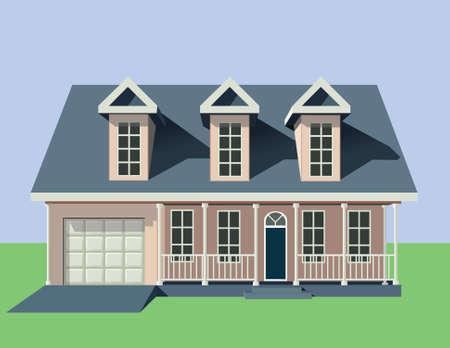 large house: Beautiful family house  Illustration