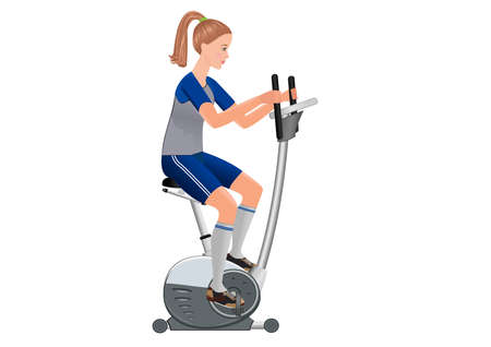 working out: Beautiful  vector girl working out with stationary bicycle. Illustration