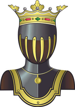 chivalry: Medieval knight head in helmet as a logo for coat of arms. Vector illustration