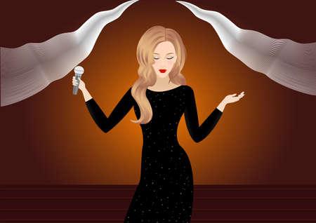 blinking: Beautiful Singing Girl. Beauty Woman with Microphone over Blinking bokeh golden night background. Glamour Model Singer. Karaoke song