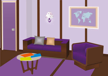 Vector sitting room in violet colours with sofa, chair, table, magazines, picture of trhe map at the wall and beautiful lamp. Illustration