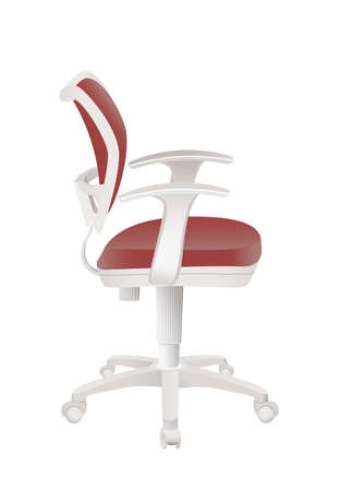 Red office chair isolated on white background Ilustração
