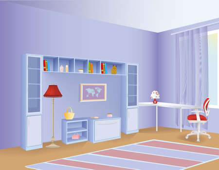 Illustration of a cartoon children room with boy or girl lifestyle elements, office chair, bookshelves and standing lamp.