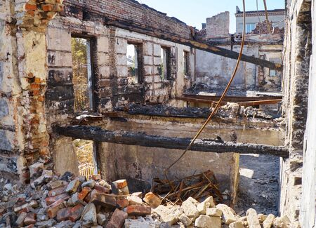 may 9: Police Department of Mariupol was burned and ruined during fighting between government special forces and terrorists on May 9 2014. Editorial